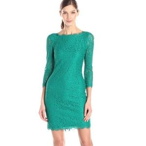 Adrianna Papell Emerald Green Lace Sheath Dress